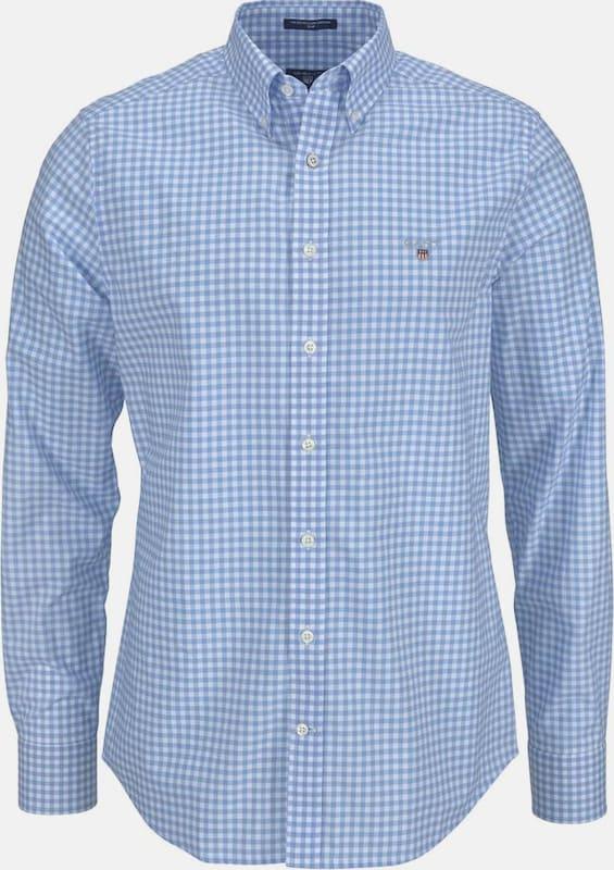 GANT Langarmhemd 'Gingham' in hellblau   weiß  Große Preissenkung