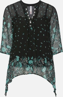 sheego style Tuniek in Turquoise / Zwart