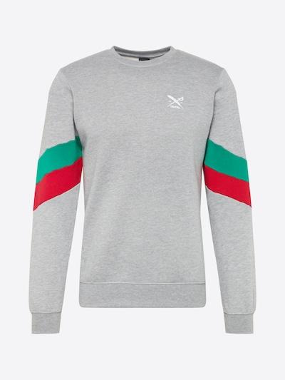 Iriedaily Sweat-shirt 'Prime Crew' en gris chiné / menthe / rouge: Vue de face