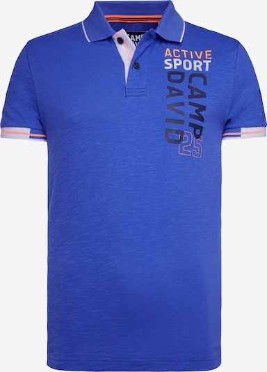 CAMP DAVID Polo mit Logo Artwork und Neon-Details in blau, Produktansicht