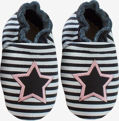 Rose et Chocolat Krabbelschuhe 'Star Stripe' in schwarz / weiß, Produktansicht