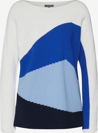 STREET ONE Pullover 'Dolman' in hellblau / dunkelblau / weiß, Produktansicht