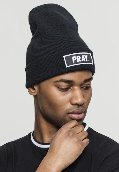 Urban Classics Beanie 'Pray' in schwarz / weiß: Frontalansicht