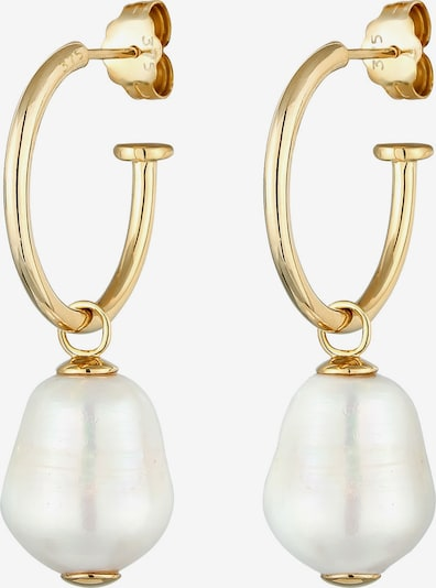 ELLI PREMIUM Ohrringe Creole, Organic, Perle in gold / perlweiß, Produktansicht
