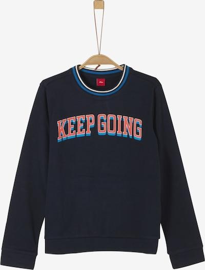s.Oliver Junior Sweatshirt in nachtblau / weiß: Frontalansicht
