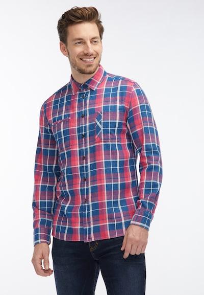 MUSTANG Hemd in blau / pastellrot / weiß: Frontalansicht