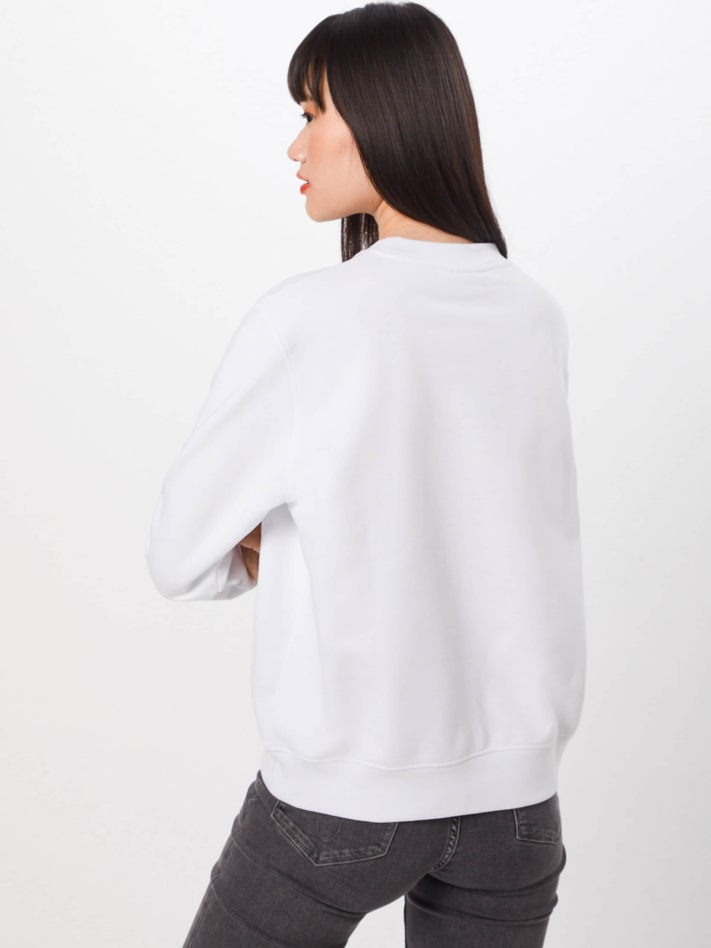 Klein Ls' Calvin Sweatshirt Weiß 'vintage Large In Logo NOm80vwn