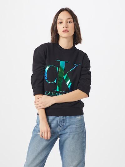 Calvin Klein Sweatshirt 'IRIDESCENT MONOGRAM CREW NECK' in blau / schwarz: Frontalansicht