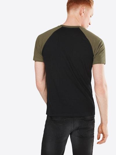 Urban Classics T-Shirt 'Raglan Contrast' in oliv / schwarz: Rückansicht