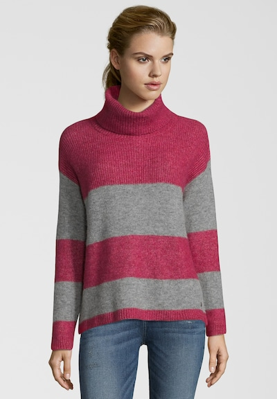 BETTER RICH Pullover 'ROLLNECK STRIPES' in grau / rot, Produktansicht