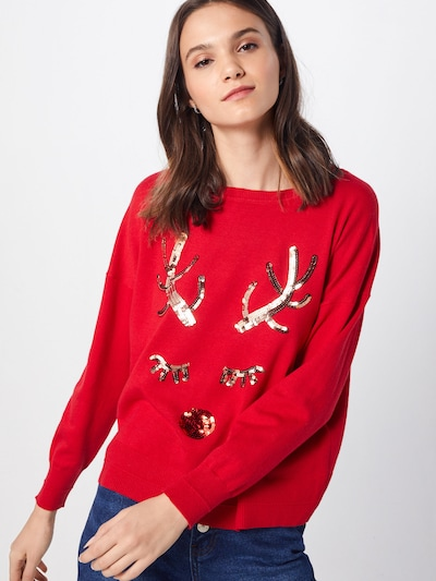 ONLY Pullover 'onlXDEER L/S PULLOVER KNT' in rot, Modelansicht