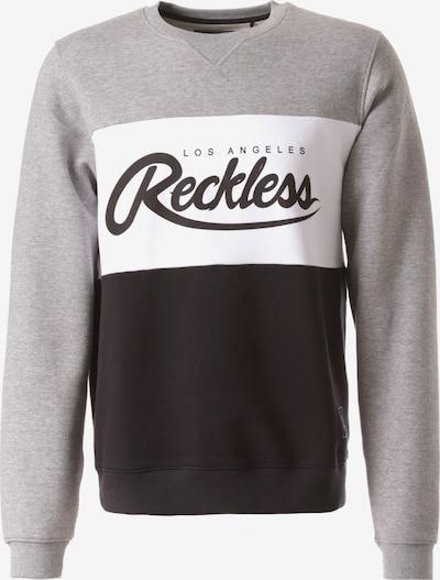 Young & Reckless Sweatshirt 'Opulent Crew' in grau / schwarz / weiß, Produktansicht