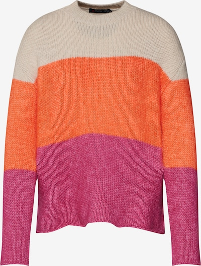 even&odd Pullover 'Colour Block stripes jumper' in orange / pink / rot, Produktansicht