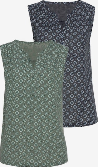 LASCANA Top in nachtblau / grasgrün: Frontalansicht