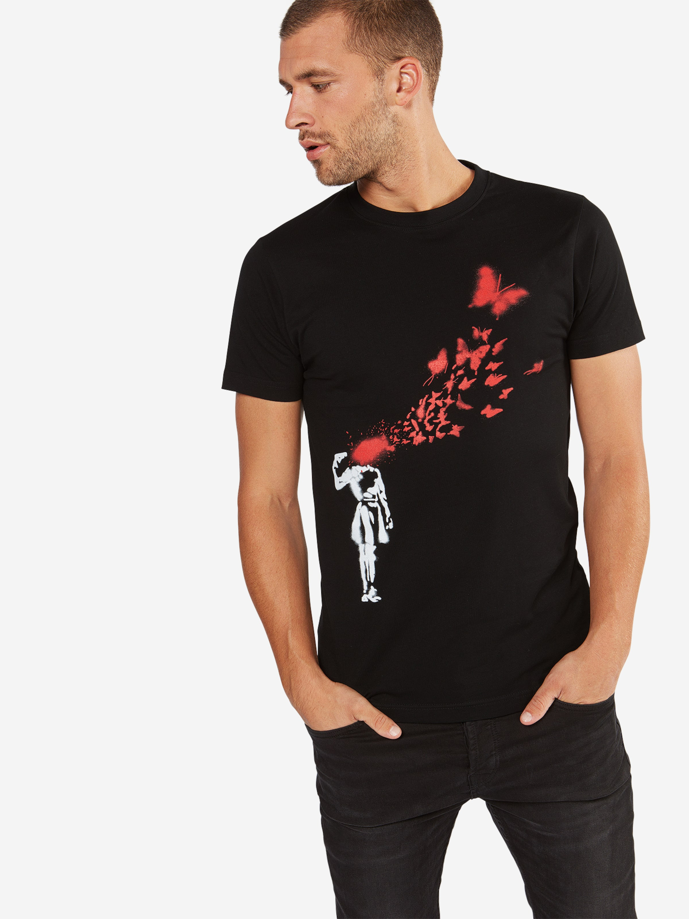 Butterfly' In RotSchwarz Weiß 'banksy Mister Tee Shirt qL345ARj