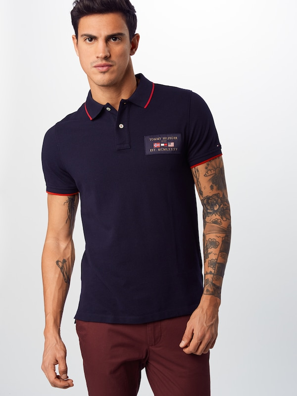 TOMMY HILFIGER Shirt 'FLAGS BADGE' in dunkelblau: Frontalansicht