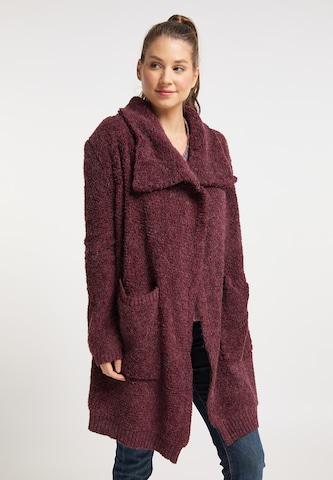 Manteau en tricot taddy en rouge