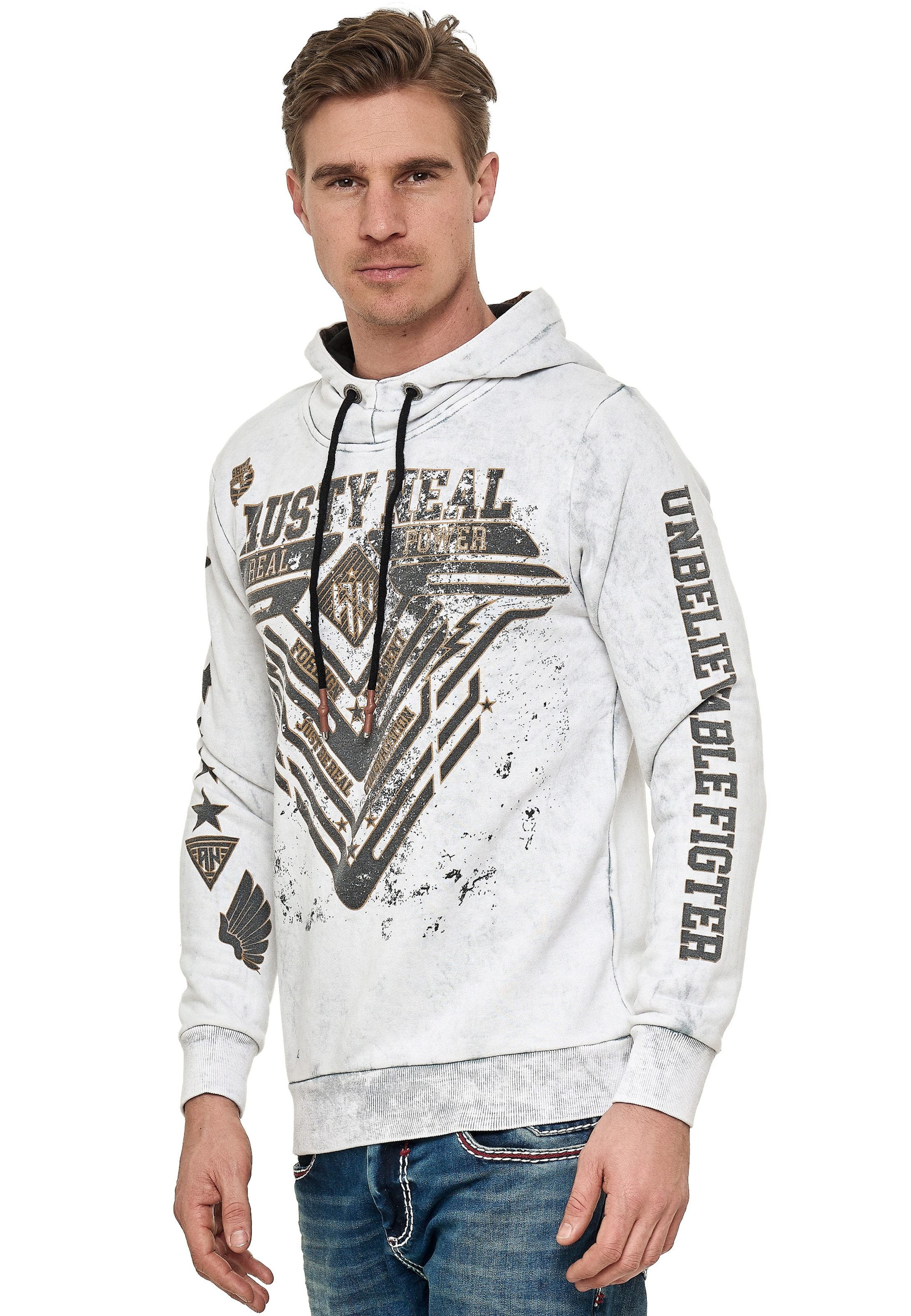 Rusty Neal Sweatshirt mit Oil Washed Front Print in weiß Logoprint 3367438