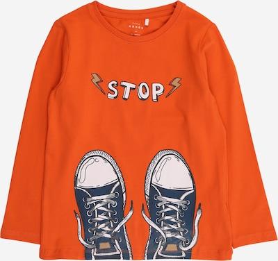NAME IT Shirt 'VUX' in hellbeige / taubenblau / orange / weiß, Produktansicht