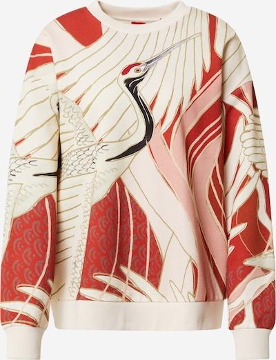 HUGO Mikina 'Dashimaki' - krémová / šedá / starorůžová / pastelově červená / černá, Produkt