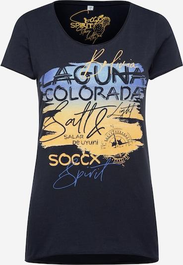 Soccx T-Shirt mit Artwork und Used-Kanten in blau, Produktansicht