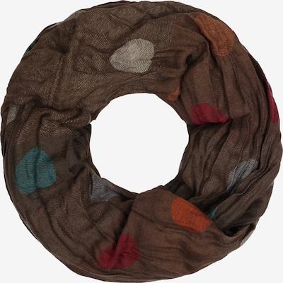 IZIA Silmukkahuivi värissä ruskea / petrooli / tummanoranssi / rubiininpunainen / munankuori, Tuotenäkymä