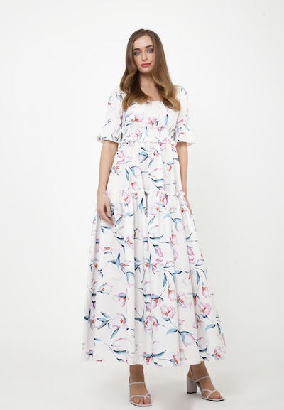 Madam-T Kleid 'Salamea' in grün / pink / weiß, Modelansicht