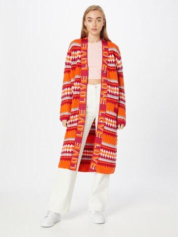 DELICATELOVE Knit Cardigan 'ANNA FOLK' in Orange