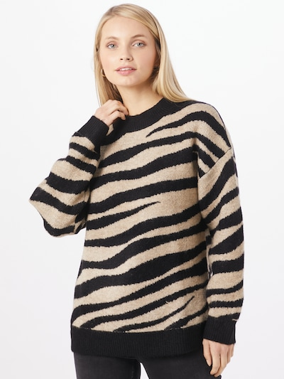 JACQUELINE de YONG Pullover  'Lian' in beige / schwarz, Modelansicht