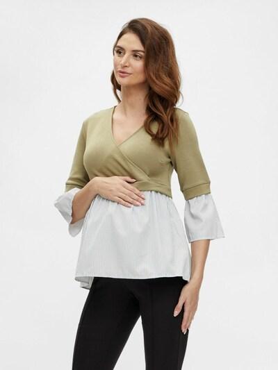 MAMALICIOUS Shirt in dunkelbeige / weiß: Frontalansicht