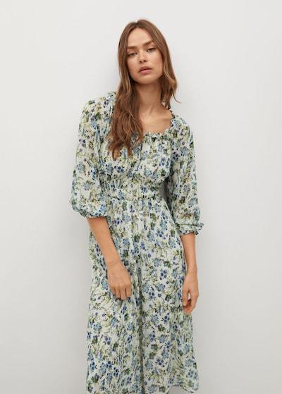 MANGO Kleid 'Ocean' in blau / grün / offwhite, Modelansicht