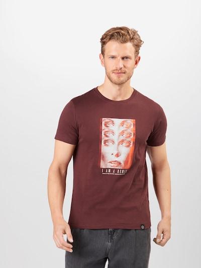 SHINE ORIGINAL Skjorte i beige / mørkeorange / pastelrød: Frontvisning