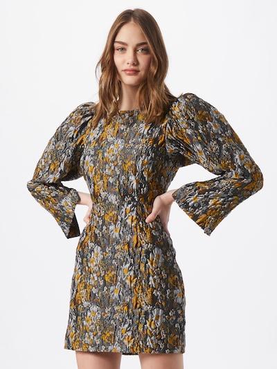SECOND FEMALE Kleid 'Fonda' in beige / dunkelgrün / orange, Modelansicht