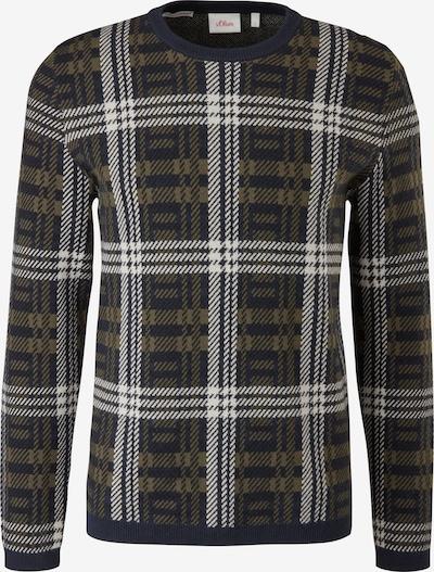 s.Oliver Pullover in khaki / schwarz / weiß, Produktansicht
