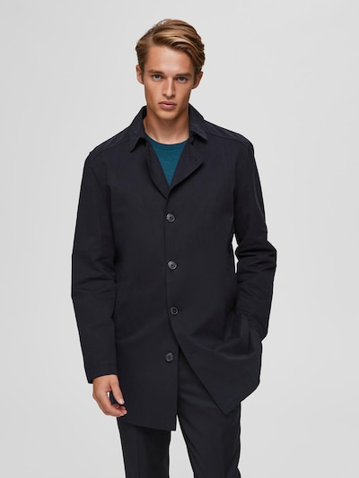 SELECTED HOMME Between-seasons coat in black, View model