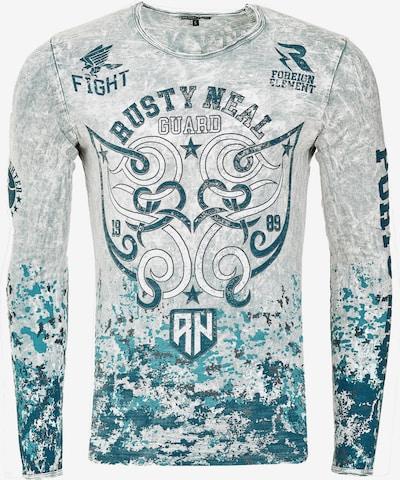 Rusty Neal Cooles Langarmshirt mit großem Print in grau: Frontalansicht