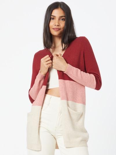 ONLY Cardigan 'QUEEN' in beige / pink / dunkelrot, Modelansicht