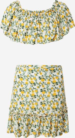 Trendyol Дамски Костюм в лимоненожълто / тревнозелено / бяло, Преглед на продукта
