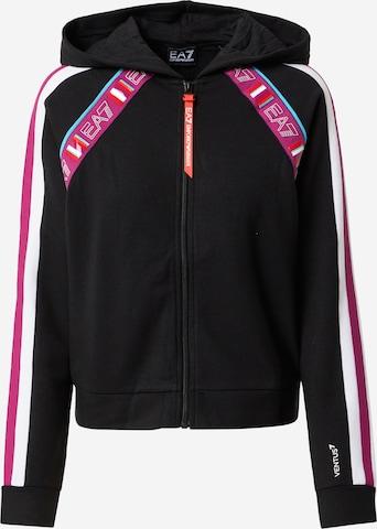 EA7 Emporio Armani Athletic Zip-Up Hoodie in Black