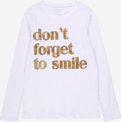 NAME IT Majica 'Foamily' u smeđa / bijela, Pregled proizvoda