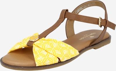 Sandale cu baretă TOM TAILOR pe maro / galben / alb, Vizualizare produs