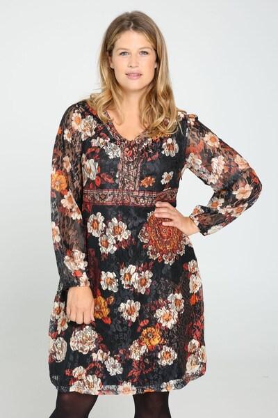 Paprika Kleid in beige / grau / mischfarben / orange / schwarz, Modelansicht