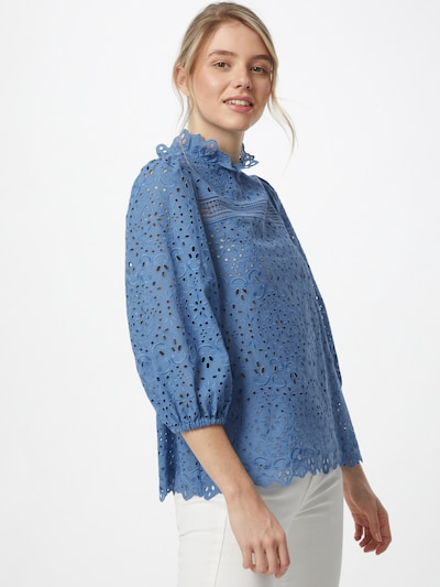IVY & OAK Bluse in taubenblau, Modelansicht