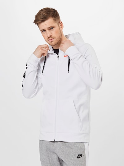 NIKE Sports sweat jacket in White: Frontal view