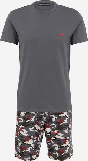 Pijama scurtă Emporio Armani pe gri argintiu / roșu / alb, Vizualizare produs