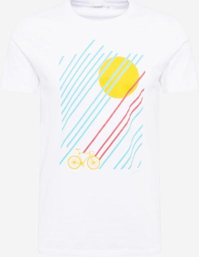 GREENBOMB Shirt 'Bike Sunrise' in hellblau / gelb / pastellrot / weiß, Produktansicht