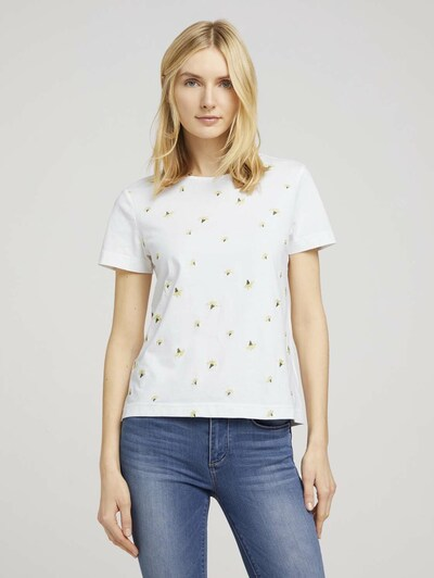 TOM TAILOR Shirt in de kleur Lichtgeel / Donkergroen / Wit: Vooraanzicht