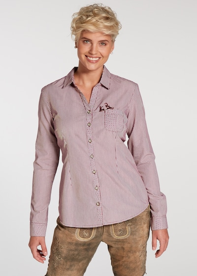 SPIETH & WENSKY Trachtenbluse 'Pünktchen' in dunkelrot / weiß, Modelansicht