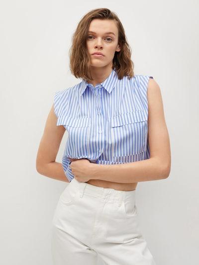 MANGO Bluse 'RITA' in hellblau / weiß, Modelansicht
