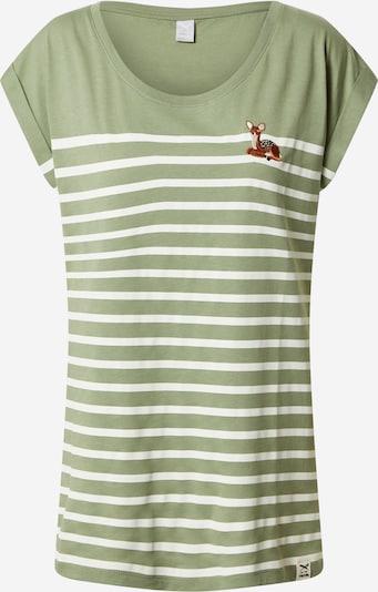 Iriedaily T-Shirt in rostbraun / dunkelbraun / oliv / weiß, Produktansicht